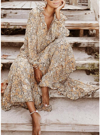 Print/Floral Long Sleeves Shift Casual Maxi Dresses