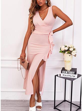 Jednolity Bez Rękawów Pokrowiec Elegancki Midi Sukienki