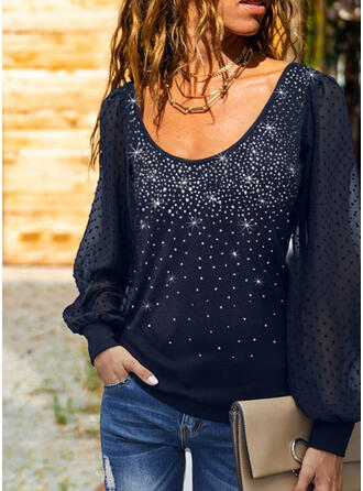 Sequins PolkaDot Round Neck Long Sleeves Casual Blouses
