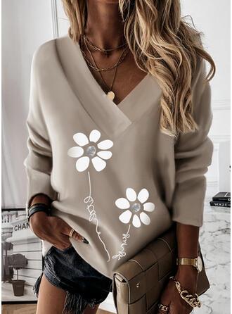Nadruk Kwiatowy Wytłaczany Dekolt w kształcie litery V Długie rękawy Bluza