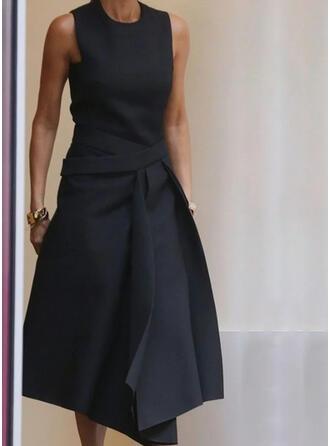 Solid Sleeveless A-line Skater Little Black/Casual Midi Dresses