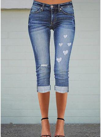 Nadruk Serce Dżinsowa Capris Nieformalny Duży rozmiar Pocket Ripped Spodnie Dżinsy