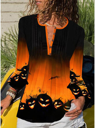 Nadruk Dekolt w kształcie litery V Rękaw 3/4 Zapięcie na guzik Casual Halloween Bluzki