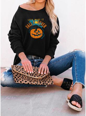 Halloween Nadruk Wytłaczany Zwierzę Okrągły dekolt Długie rękawy Bluza