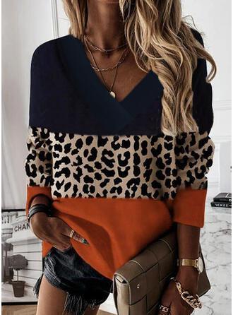 Blok Koloru lampart Dekolt w kształcie litery V Długie rękawy Bluza