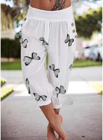 Nadruk butterfly Capris Nieformalny Wakacyjna Duży rozmiar Pocket Przycisk Spodnie Spodnie Lounge
