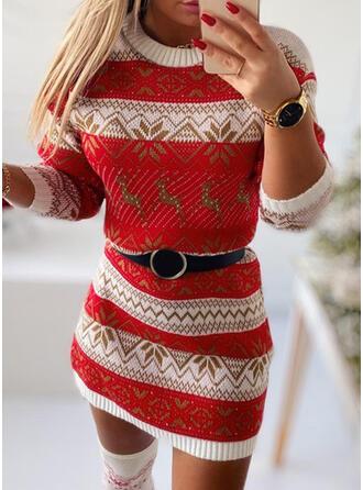Boże Narodzenie Nadruk/Zwierzę Dzianina Długie rękawy Bodycon Nad kolana Nieformalny Sweter Sukienki