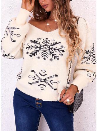 Boże Narodzenie Nadruk Snowflake Dekolt w kształcie litery V Nieformalny Swetry