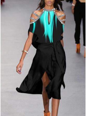 Nadrukowana/Cekiny Krótkie rękawy/Odkryte ramię W kształcie litery A Łyżwiaż Przyjęcie Midi Sukienki