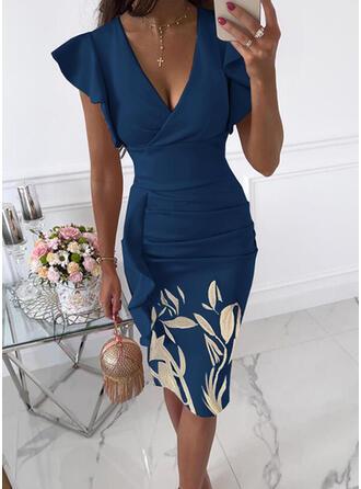 Nadruk/Kwiatowy Krótkie rękawy Ruffle Sleeve Bodycon Długośc do kolan Impreza/Elegancki Ołówkowa Sukienki