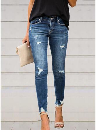 Jednolity Bawełna Długo Elegancki Seksowny Pocket Ripped Spodnie Dżinsy