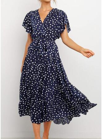 Nadrukowana Krótkie rękawy W kształcie litery A Casual/Wakacyjna Midi Sukienki