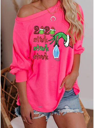 Print Sequins Figure One-Shoulder Long Sleeves Casual Christmas Blouses