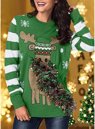 Damskie Nadruk Blok Koloru W paski Renifer Brzydki świąteczny sweter