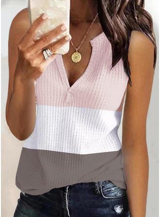 Blok Koloru Dekolt w kształcie litery V Bez Rękawów Koszulki bez rękawów