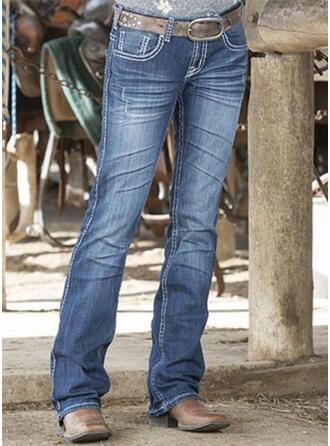 Jednolity Dżinsowa Długo Nieformalny Zabytkowe Duży rozmiar Pocket Dżinsy