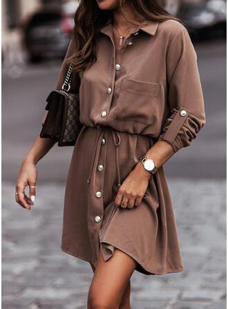 Jednolity Długie rękawy Sukienka Trapezowa Nad kolana Nieformalny Łyżwiaż Sukienki