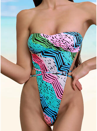 Print Strapless Sexy One-piece Swimsuits
