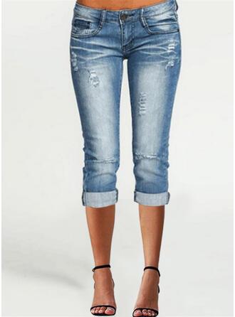 Jednolity Capris Nieformalny Duży rozmiar Pocket shirred Ripped Przycisk Spodnie Dżinsy