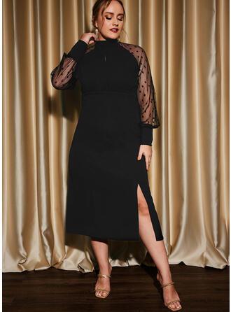 Jednolity Długie rękawy Pokrowiec Mała czarna/Impreza/Duży rozmiar Midi Sukienki