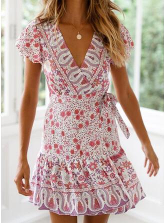 Nadrukowana/Kwiatowy Krótkie rękawy W kształcie litery A Nad kolana Casual/Wakacyjna Sukienki