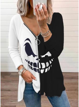 Halloween Nadruk Blok Koloru Dekolt w kształcie litery V Długie rękawy Raglan Sleeve Nieformalny Bluzki