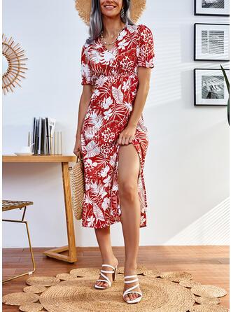 Nadruk Krótkie rękawy Sukienka Trapezowa Łyżwiaż Nieformalny Midi Sukienki