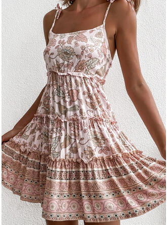 Print/Floral Sleeveless A-line Above Knee Casual Slip/Skater Dresses