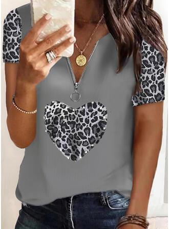 Leopard Beaded Heart V-Neck Short Sleeves Casual Blouses