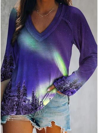 Print Forest V-Neck Long Sleeves Casual T-shirts