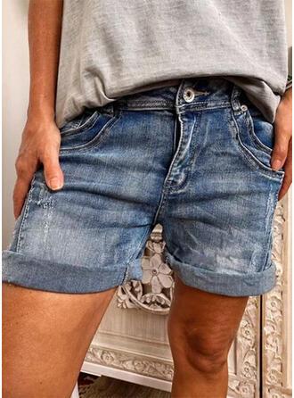 Dżinsowa Nad kolanem Nieformalny Duży rozmiar Pocket Przycisk Spodnie Szorty Dżinsy