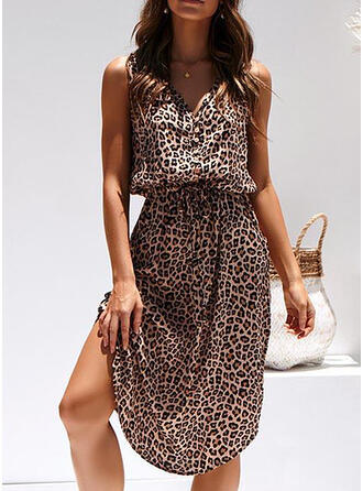 Leopard Sleeveless A-line Knee Length Casual/Vacation Skater Dresses