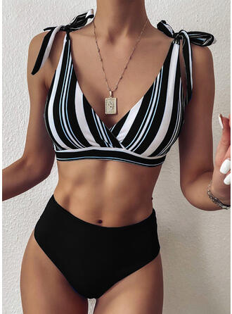 Pasek Kolor splotu Zasznurować W prążki Dekolt w kształcie litery V Seksowny Kolorowy retro Bikini Stroje kąpielowe