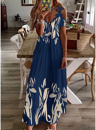 Nadruk Koronka Krótkie rękawy cold ramion rękaw Sukienka Trapezowa Łyżwiaż Nieformalny Maxi Sukienki