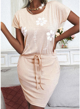 Nadrukowana/Kwiatowy Krótkie rękawy Bodycon Nad kolana Casual Sukienki