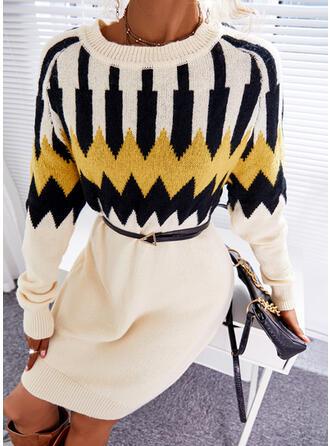 Nadruk Okrągły dekolt Nieformalny Sukienka sweterkowa