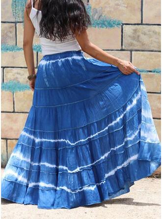 Cotton Blends Print Floor Length A-Line Skirts