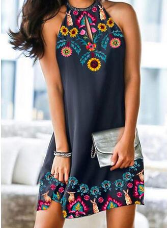 Animal Print/Sunflower Print Sleeveless Shift Above Knee Elegant Dresses