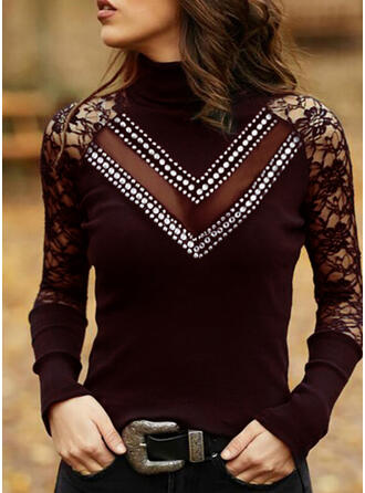Lace Sequins High Neck Long Sleeves Casual Blouses