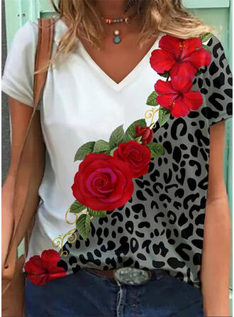 Floral Leopard Print V-Neck Short Sleeves T-shirts