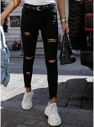 Jednolity Dżinsowa Długo Nieformalny Seksowny Duży rozmiar Pocket Ripped Dżinsy