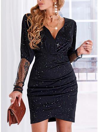 Nadruk Długie rękawy Pokrowiec Nad kolana Elegancki Sukienki