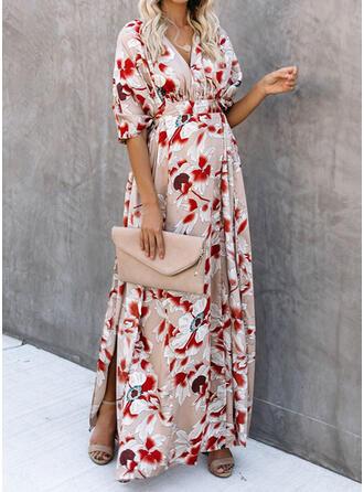 Nadrukowana/Kwiatowy Rękawy 1/2 W kształcie litery A Casual/Wakacyjna Maxi Sukienki