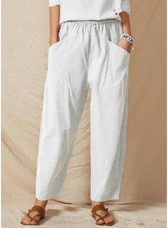 Jednolity Bielizna Bawełna Długo Nieformalny Spodnie Spodnie Lounge