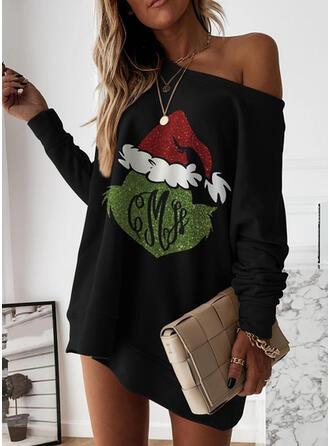Nadrukowana Długie rękawy Koktajlowa Nad kolana Boże Narodzenie/Casual Tunika Sukienki