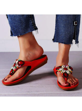 Women's Microfiber Flat Heel Sandals Flats Peep Toe Flip-Flops Slippers With Beading Flower Solid Color shoes