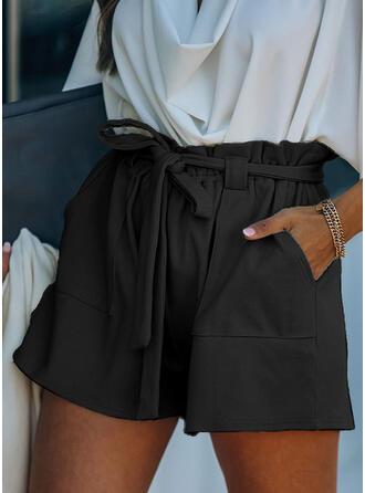 Jednolity Nad kolanem Elegancki Wakacyjna Duży rozmiar Pocket shirred drawstring Spodnie Szorty