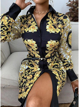 Print/Floral Long Sleeves Sheath Knee Length Vintage Dresses