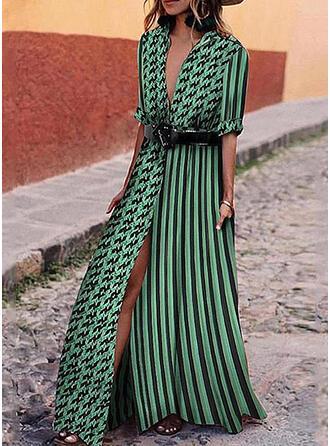 Nadrukowana/Groszki/W paski Rękawy 1/2 W kształcie litery A Casual/Wakacyjna Maxi Sukienki