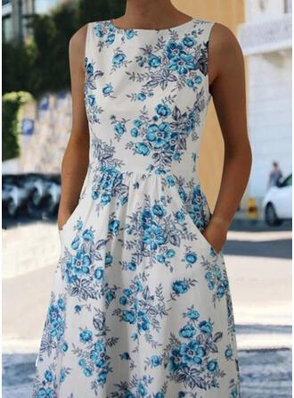 Nadrukowana/Kwiatowy Bez rękawów W kształcie litery A Długośc do kolan Casual/Elegancki Sukienki